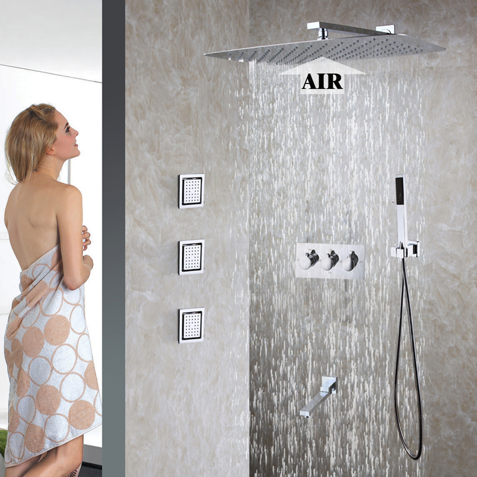 Bathroom Shower Faucet Set Easy-Installation Shower System 55X35 CM Ultra-thin Rain Shower Heads Hot And Cold Mixer Faucet Valve