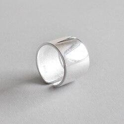 Gerçek 925 ayar gümüş yüzük kadınlar için, pürüzsüz geniş halka ayarlanabilir ringen anillos bague femme aneis feminino 925 takı