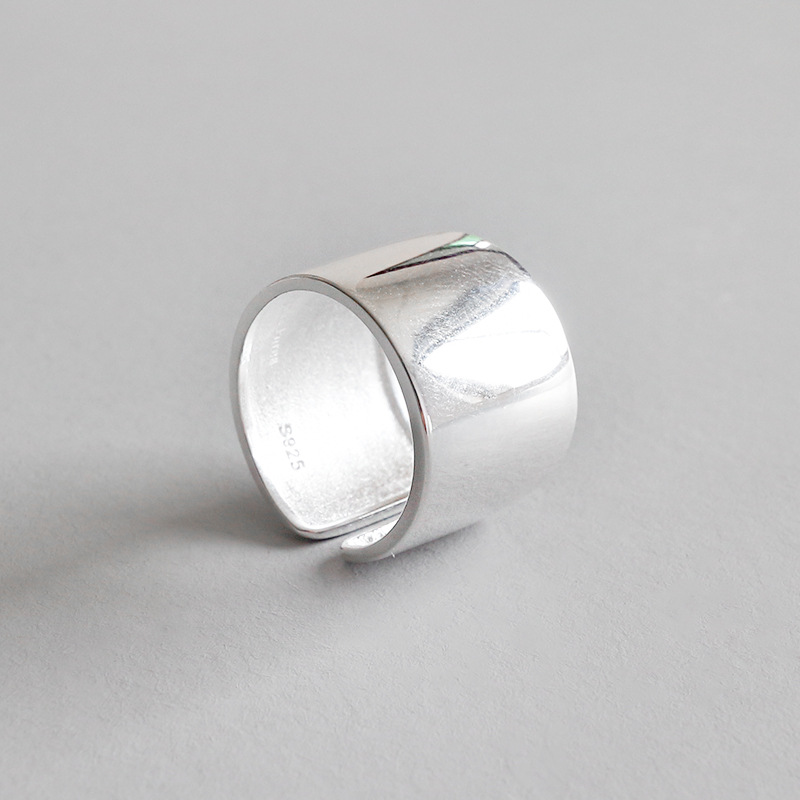 Real 925 sterling silver rings for women, smooth wide ring adjustable ringen anillos bague femme aneis feminino 925 jewellery new professional eb alto saxophone sax set personal durable bass body musical instruments eb alto saxophone sax kits free ship