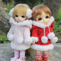 New 16cm Lati-Y/Puki Fee/AE/AI/BJD Clothes Red/Pink Fluffy Hoodie Coat/Suit(2pc)