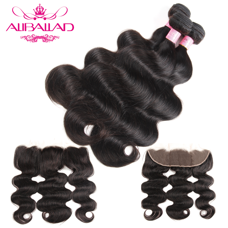 Aliballad Peruvian Hair Body Wave 3 Bundles With Lace Frontal Closure 13x4 Inches Non Remy Human