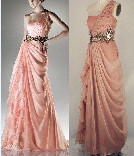 One Shoulder Pink Chiffon Evenning Dress Gold Black SASH Bridesmaid Dress  Ready Made Sample Bridal Prom Dress Sz 2 4 6 8 10 12 + e1334e462d23