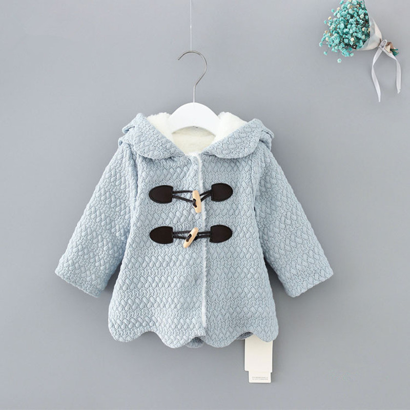 2018 Winter Hooded Children Clothes Girls Jackets Cardigan Baby kids Infants  Coat Velvet Warm Horn buckle Outwear 0-2Y