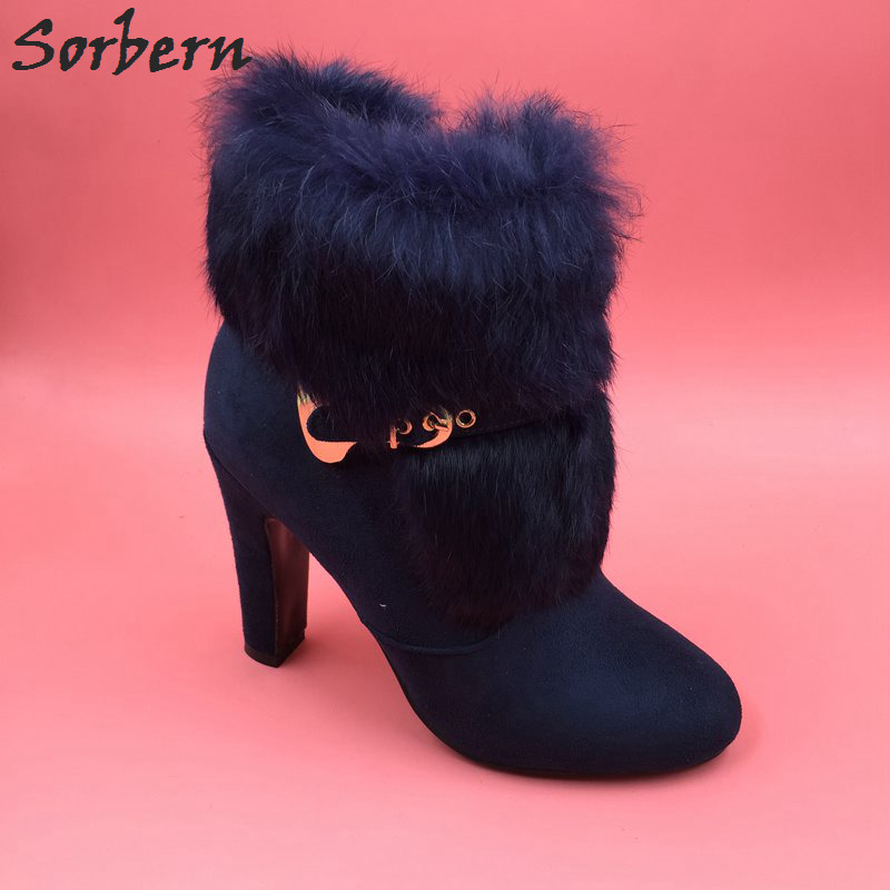 Sorbern Blue Faux Fur Ankle Boots Women Chunky High Heels Winter Shoes Women Custom Large Size 33-46 Boots With Fur 2018 New faux fur white winter boots