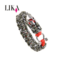 LIKA Handmade Nylon Bracelet With Bronze Spartan Helmet Multi Functional Fashion Sport Hand Rope For Men