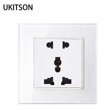 Ukitson Worldwide Multiple Ac250 Socket Faceplate White Crystal Gl Outlet