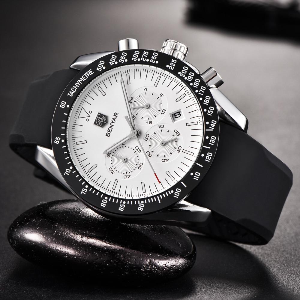 Topdudes.com - Luxury Silicone Strap Waterproof Sports Quartz Chronograph Military Wrist Watch