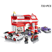 731Pcs Military series city police fire series car gas station Model Building Blocks Bricks Toys For Children Christmas Gifts
