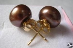 7 - 8 мм южного моря шоколад жемчужные серьги