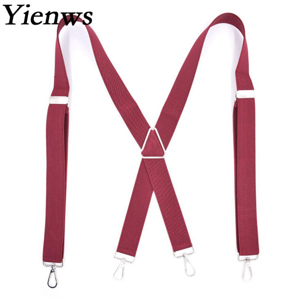 Yienws Mens Suspenders X Sharp Strap Braces For Trousers 4 Hook Suspensorio Bretels Mannen 3.5*120cm Burgundy Black Khaki YiA081
