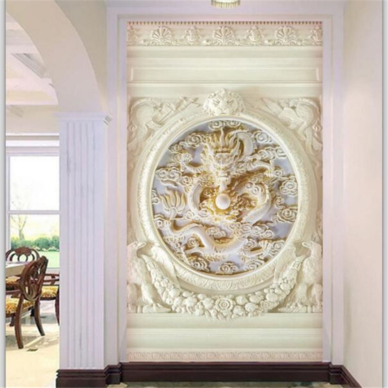 Wellyu Custom Wallpaper 3d European Dragon Embossed Entrance Aisle Tv Background Wallpaper 3D Photo Mural Living Room Wallpaper