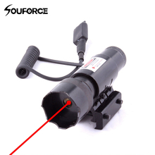 цена на High Quality Tactical Red Dot Laser Sight With Tail Switch Laser for 20mm Picatinny Rail Hunting Riflescope