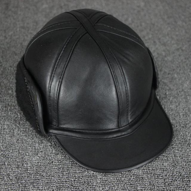Harppihop chapéu leifeng cap tampa da pele de carneiro couro Genuíno chapéu  do inverno chapéu morno da64894ec51