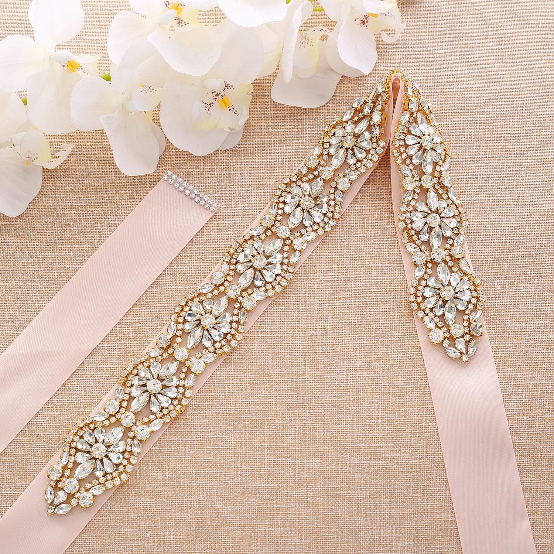 Gold Crystal Bridal Sash Pearls Rhinestones Bridal Belt Handmade Wedding Belts For Wedding Party Dress A190G