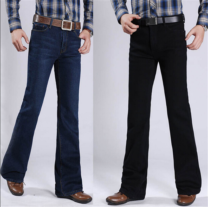 High Quality New Winter Male Fleece Casual Business Flare font b Jeans b font font b