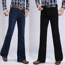 High Quality New Winter Male Fleece Casual Business Flare Jeans Men's Slim Mid High Boot Cut Pants Size 27-34
