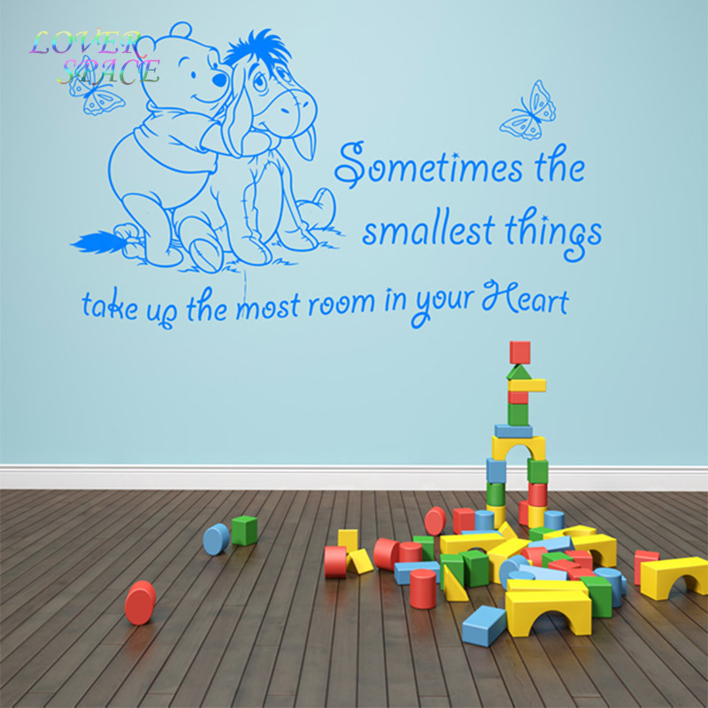 WINNIE THE POOH WALL STICKERS DOG BUTTERFLY VINYL WALL ART QUOTE STICKER  GIRL BOY KIDS NURSERY LOVE DECAL HOME DECOR In Wall Stickers From Home U0026  Garden On ... Part 49