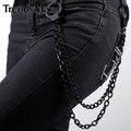 Trendsmax pantalones negros cadena de tono 2 líneas de cadena del encintado punk jean para hombre joyas pc03