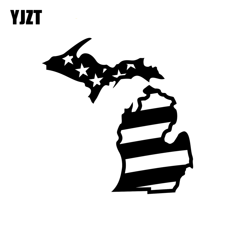 YJZT 17.4CM*18CM Fashion Michigan Flag USA Decal Black