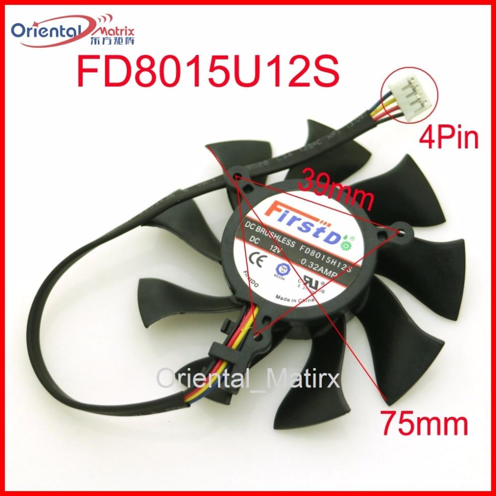 Free Shipping FD8015U12S 75mm VGA Fan For Sapphire HD6850 HD4860 HD5850 HD4890 Graphics Card Cooling Fan 4Pin