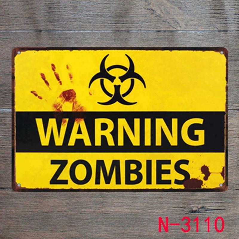 Предупреждение зомби Винтаж ретро металл железо живопись признаки плакат налет Бар Паб Клуб стены Винтаж Home Decor доска 20*30 см
