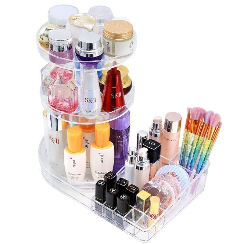 360 rotatif maquillage organisateur boîte de rangement réglable en plastique pinceaux cosmétiques étui de rouge à lèvres maquillage bijoux conteneur Stand