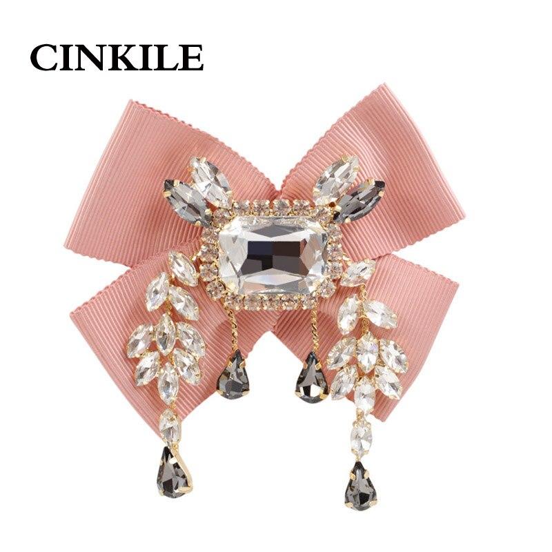 CINKILE tela arco broches para las mujeres boda corbata broche con colgante hecho a mano accesorios del vestido de boda regalo