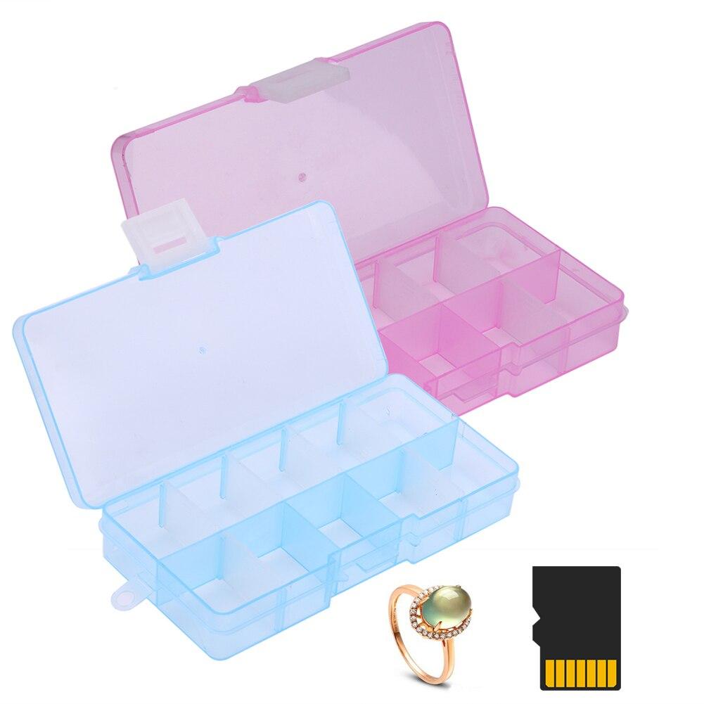 10 grids plastic storage box adjustable jewelry storage for Plastic grid sheets crafts