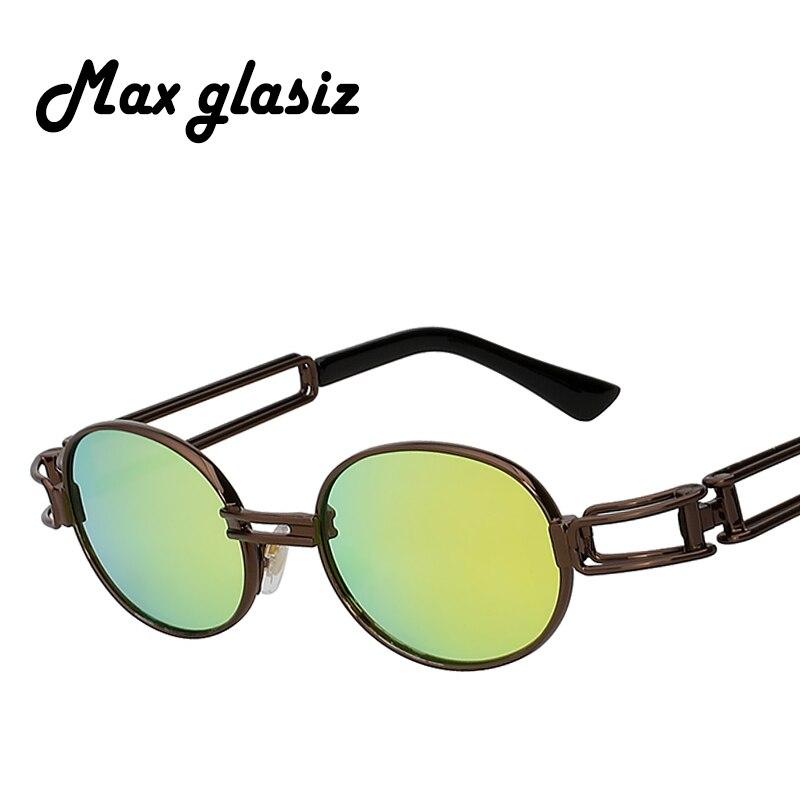 Modestil Männer Frauen Mode John Lennon Runde Steampunk Sonnenbrille Klare Linse Metall Rahmen Retro Vintage Beschichtung Gespiegelt Brillen Brillen Sonnenbrillen
