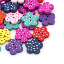 100Pcs Mixed Colourful Flower Dots 2 Holes Wood Sewing Buttons Crafts Scrapbooking Findings 15x14mm
