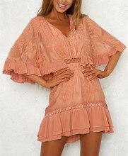 купить 2019 Summer Casual Women Crochet White Flare Sleeve Lace Dress Loose V-Neck Hollow Out Ruffles Mini Dresses по цене 1703.41 рублей