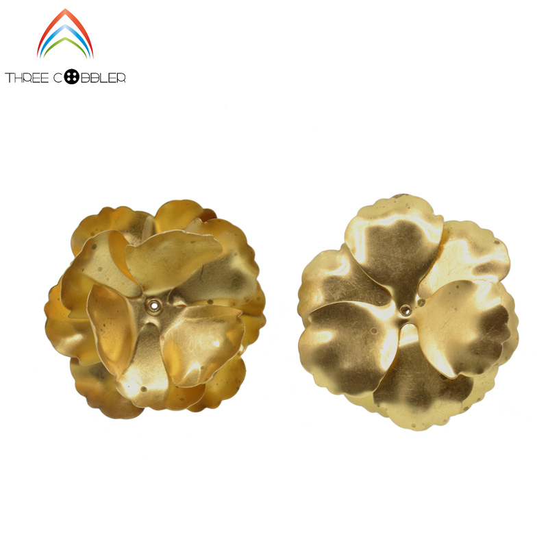 IB3596 Original Copper no plated flower slice three dimensional flowers beads cap 32 42mm 50pcs DIY