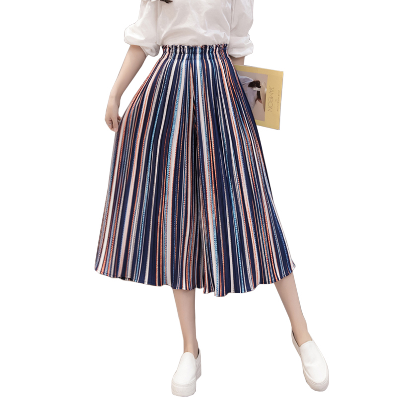 High Waisted Pleated Chiffon Loose Pants Stripe Wide Leg Pants Trousers Women Elastic Ladies Casual Plus Size Ruffle Pantalon