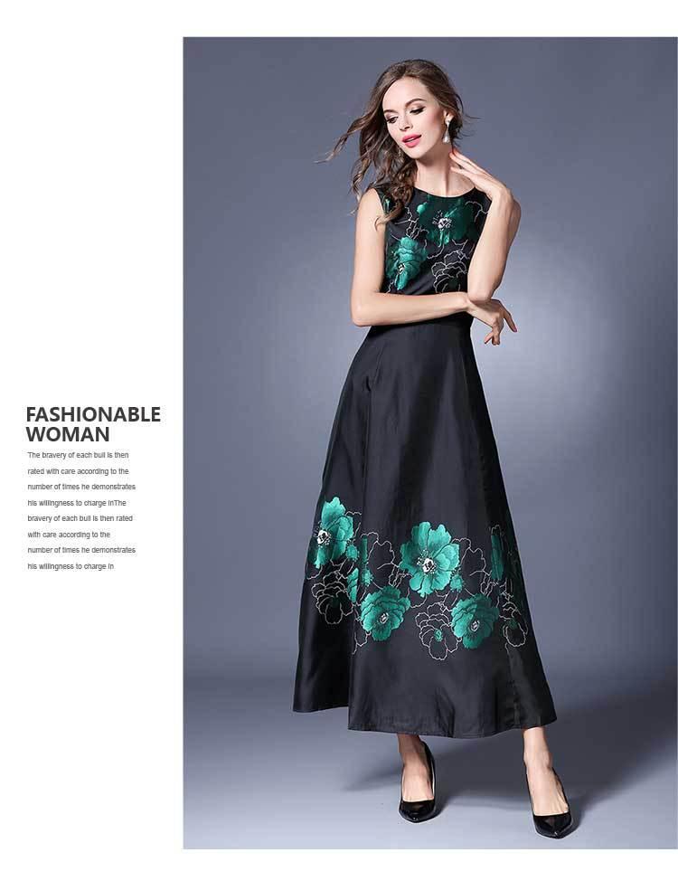Vêtements Femmes longueur Clair D'été Cheville Manches D'o Robe Style Robes Pour cou Les D'impression Chinois Sans FYC6waqB
