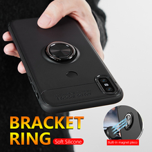 цены на Luxury Bracket Case For Xiaomi Redmi Note 5 6 Pro 6A Ring Holder Silicone Shockproof  Back Cover For Xiaomi Mi A1 A2 8 Lite Case в интернет-магазинах