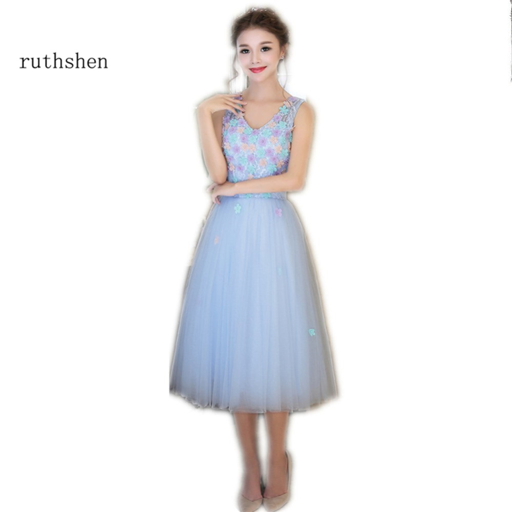 ruthshen Light Pink   Cocktail     Dresses   2018 V-Neck Appliques Tulle Tea-Length Lace Up Back Sexy Short Prom   Dress   Cheap