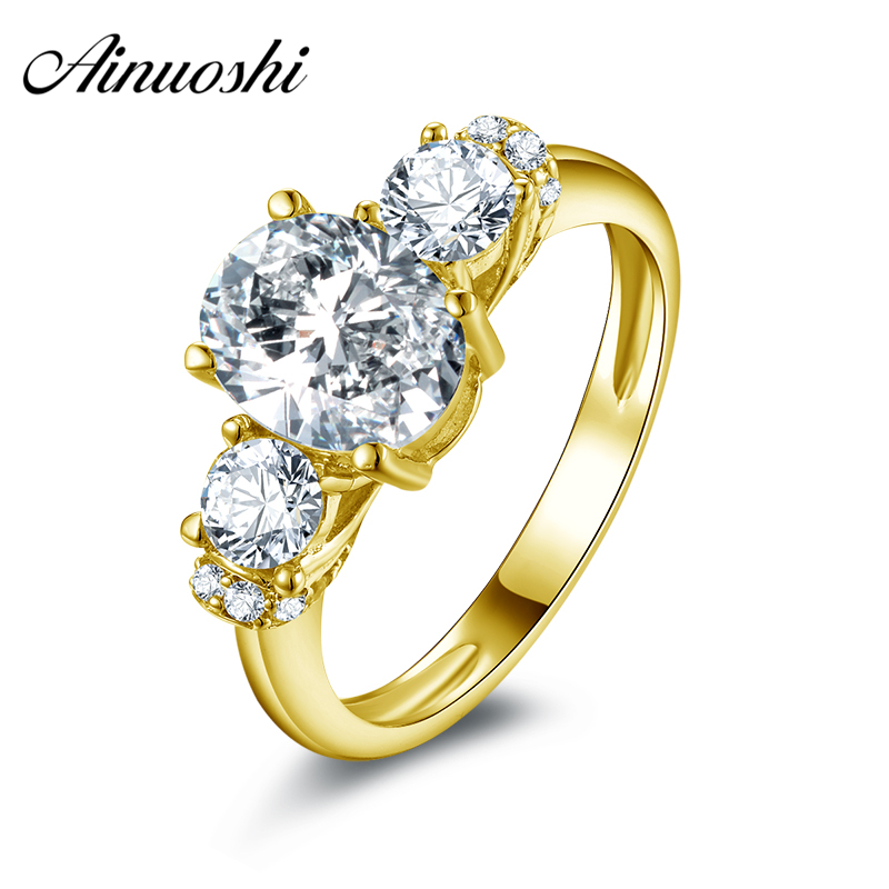 AINUOSHI 10k Solid Yellow Gold Engagement Rings 2 ct Oval Cut Simulated Diamond Jewelry 3 Stone