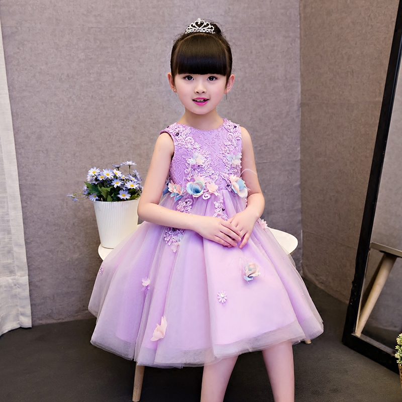 2017 New High Quality Luxury Elegant Children Girls Princess Lace Dress With Flowers Decoration Birthday Wedding Party Dresses 2017 new high quality girls children white color princess dress kids baby birthday wedding party lace dress with bow knot design