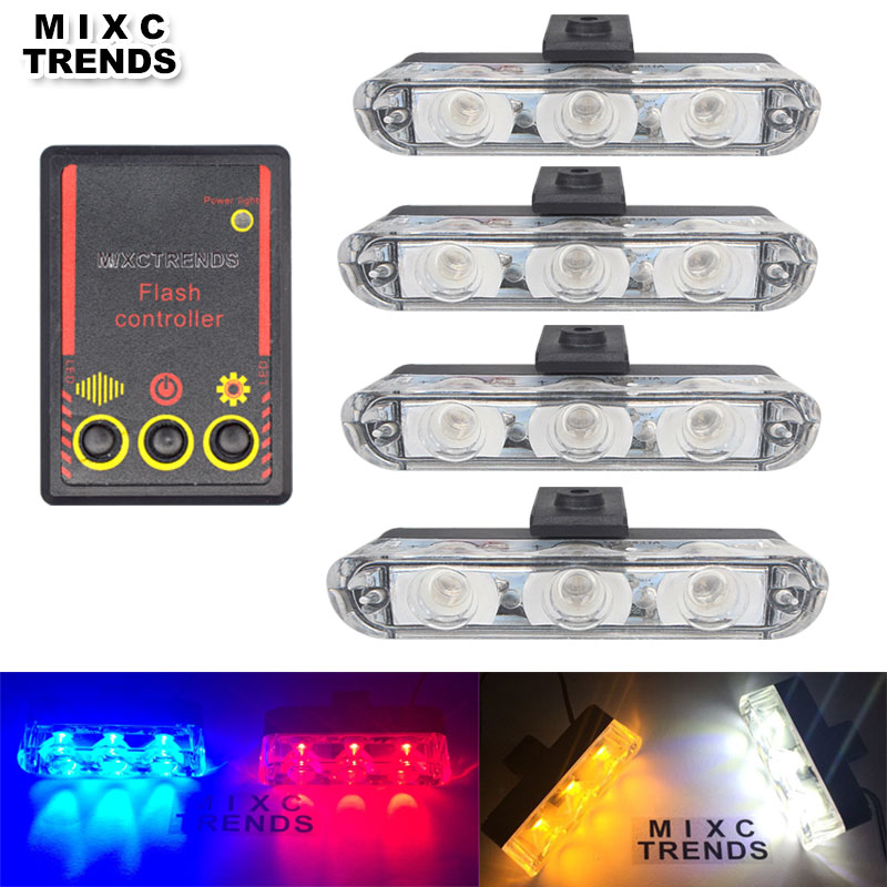 4x3 led Ambulance Police light DC 12V Luz estroboscópica de advertencia para el camión del coche Luces de emergencia de bomberos intermitentes de emergencia