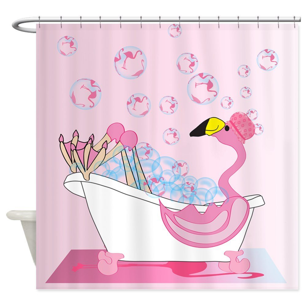 CafePress - Bubble Bath Time Flamingo - Decorative Fabric Shower Curtain