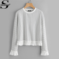 Sheinside Frill Trim Striped Pinstripe Sweatshirt 2017 Crew Neck Long Sleeve Pullovers Sweatshirt Womens Cute Sweatshirt