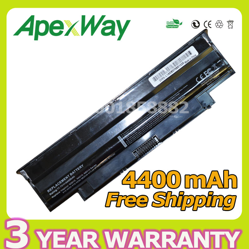 Apexway 6 cells J1KND 451-11510 9TCXN 451-11510 Laptop Battery for Dell Inspiron 13R N3010 14R N4010 15R N5010 17R N7010 M501 high capcity 12 cells laptop battery for dell for inspiron 1100 1150 5100 5150 5160 for latitude 100l 312 0079 451 10183 u1223