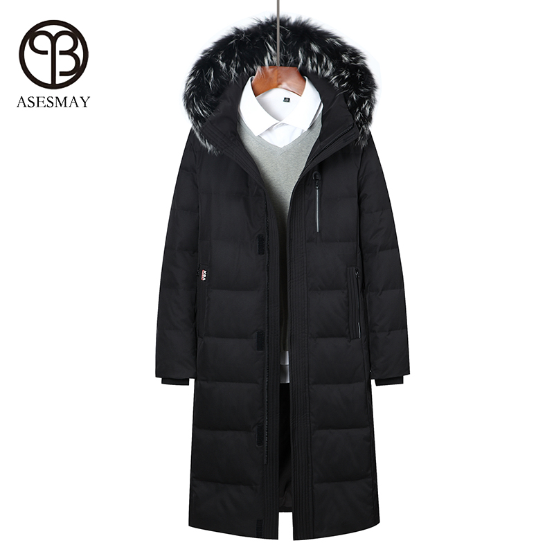 Asesmay 2017 brand clothing men down jacket thick mens winter coat x-long down parkas hooded high quality goose feather outwear