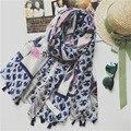 Nuevas Mujeres de la bufanda Bufandas foulard femme hiver Voile étnico Lovely girls Mantón de La Borla de La bufanda de la marca de lujo Para Mujer Del Mantón de la bufanda