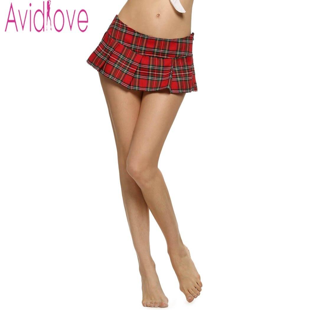 Avidlove Sieviešu lomu spēles Mini svārki Sexy Lady skolniece Cosplay pleds svārki Vintage Mini Plaid svārki Sleepwear S-XXL U2