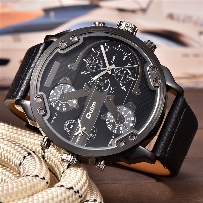 Oulm Big Watches For Men Multiple Time Zone Sport Quartz Clock Male Casual Leather Two Design Luxury Brand Men's Wriswatch