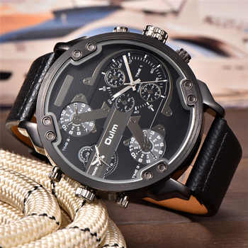 Oulm Big Watches for Men Multiple Time Zone Sport Quartz Clock Male Casual Leather Two Design Luxury Brand Men's Wriswatch - DISCOUNT ITEM  50% OFF All Category