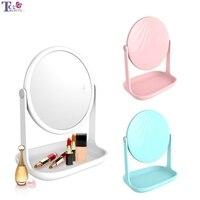 Portable Makeup Mirror Standing Led Light Compact Desktop Vanity Desktop Mirrors Small Hand Lamp Table Cosmetic Tools