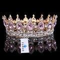 Горячие продажи Новая Мода Элегантный Розовый Кристалл Свадебный венец классический Золотой Диадемы для Женщин Свадебные украшения для волос аксессуары