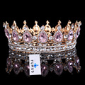 Hot sale New Fashion Elegant Pink Crystal Bridal crown classic Gold Tiaras for Women Wedding hair jewelry accessories